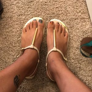 Beige and gold sandals
